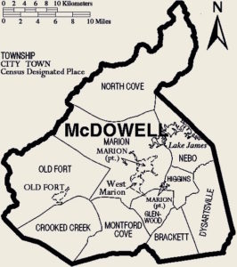 Drawing of McDowell County map