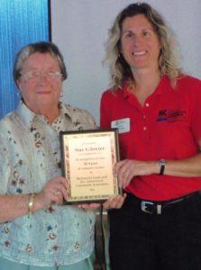 Plaque presentation to Sue Glovier for volunteer service