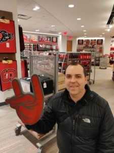 Justin in the NCSU bookstore last January during my return trip to the university