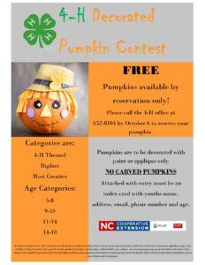 4-H Decorated Pumpkin Contest flyer