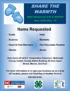 Cover photo for Help McDowell 4-H Share the Warmth