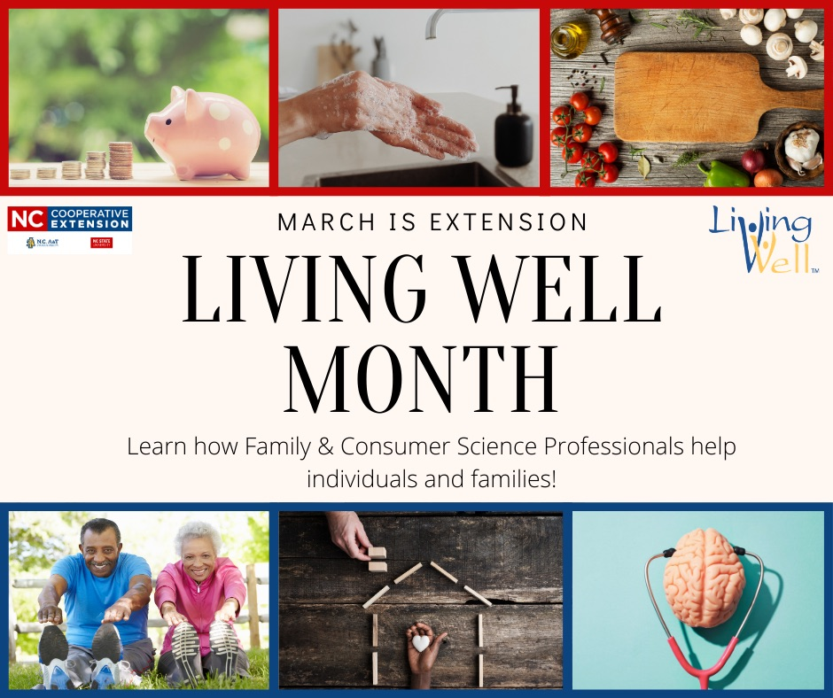 image of Living Well Month and pictures of piggy bank for financial management education Hand washing for food safety cutting board and vegetables for healthy eating people stretching for physical activity design of home for healthy home and brain for mental health work that Family and Consumer Science agents do