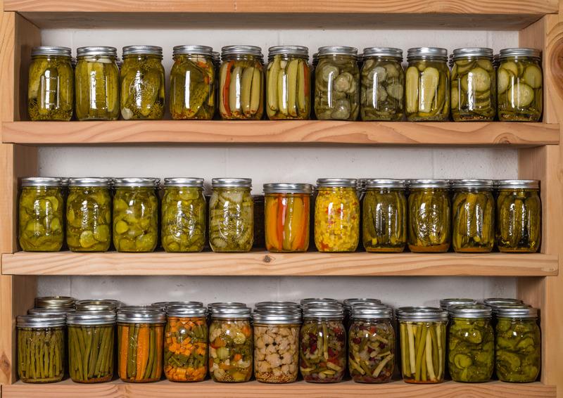 canning jars on shelf
